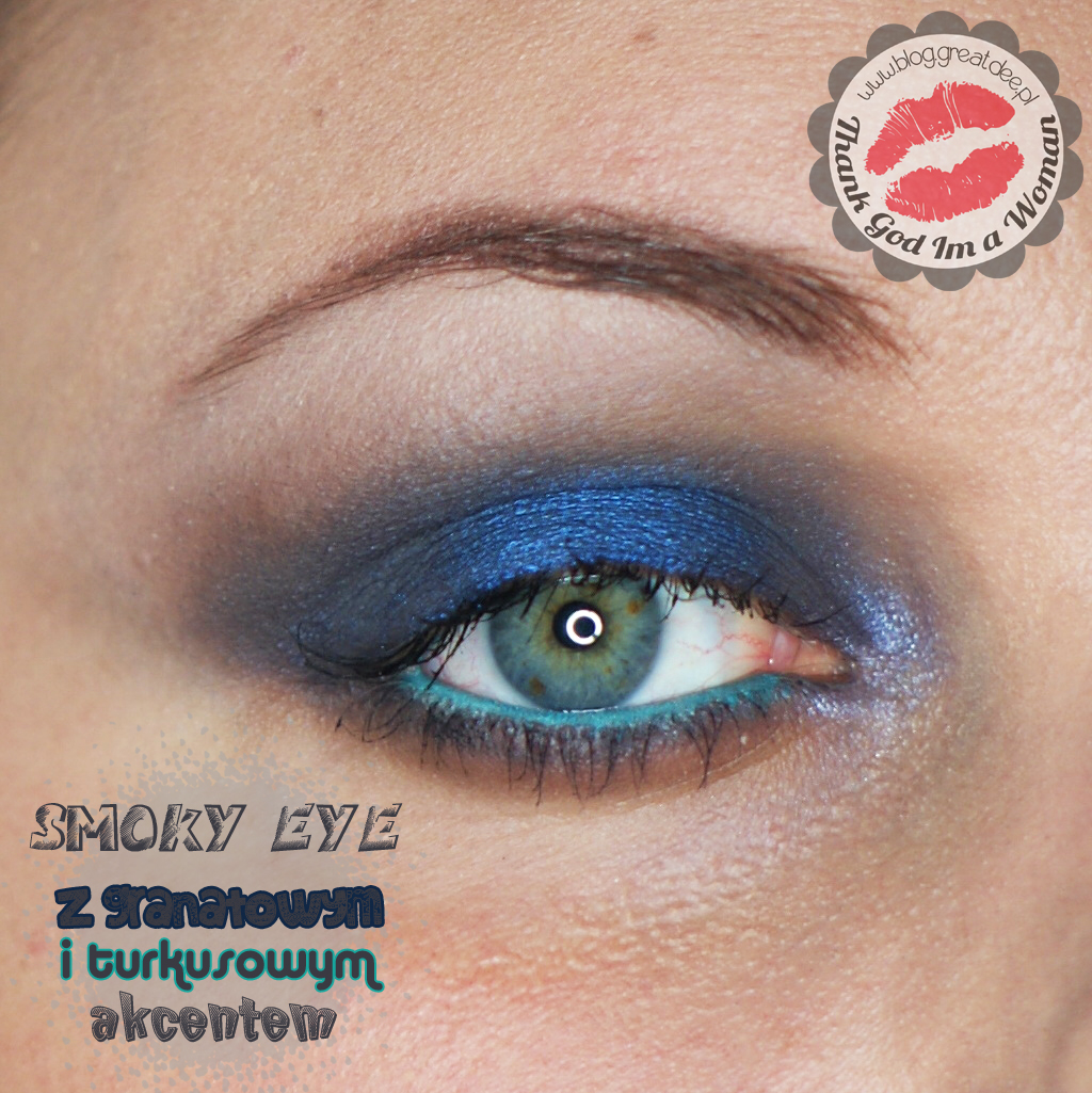 Make-up: Niebieskie smoky eye z turkusem