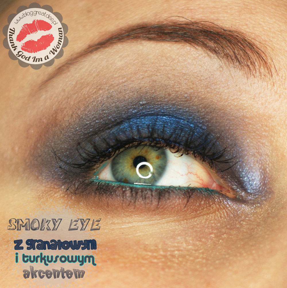 Make-up: Niebieskie smoky eye z turkusem - tutorial