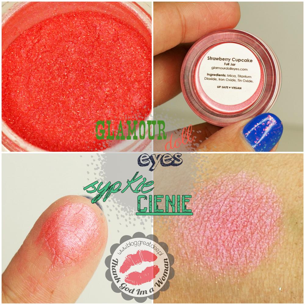 Glamour Doll Eyes - sypkie cienie mineralne strawberry cupcake - swatche, opis, recenzja