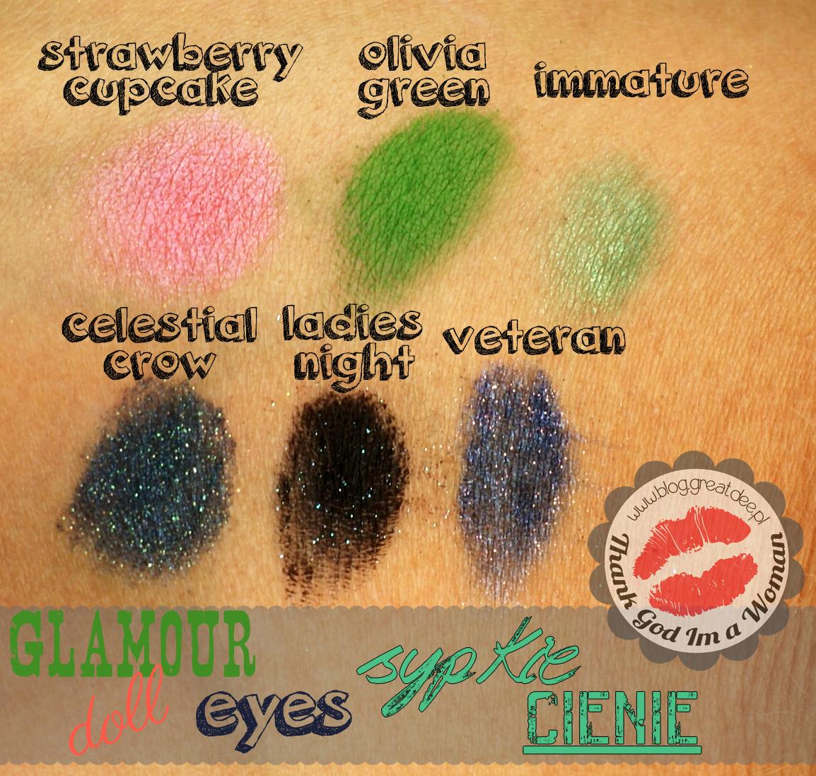 Glamour Doll Eyes - sypkie cienie mineralne - swatche, opis, recenzja