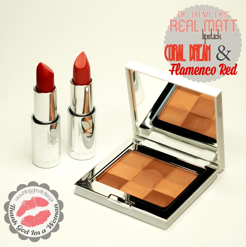 Dr Irena Eris - Provoke - Real Matt lipstick Dream Coral & Flamenco Red