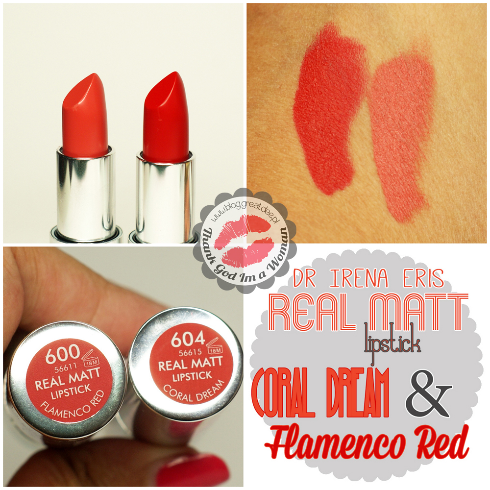 Dr Irena Eris - Provoke - Real Matt lipstick Dream Coral & Flamenco Red