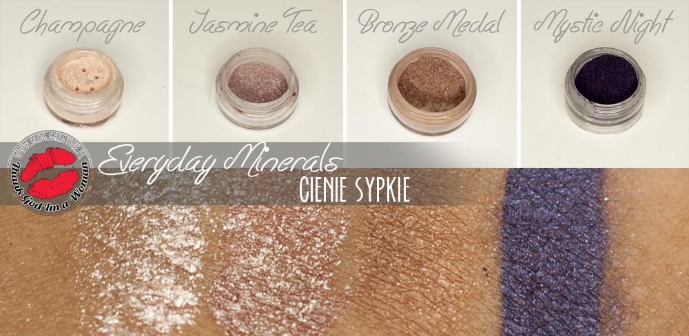 Mineralne cienie Everyday Minerals - Mystic Night, Bronze Medal, Champagne, Jasmine Tea.