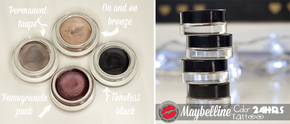 Maybelline Color Tattoo 24hrs - Permanent Taupe, Pomegranate Punk, On and On Bronze, Timeless Black