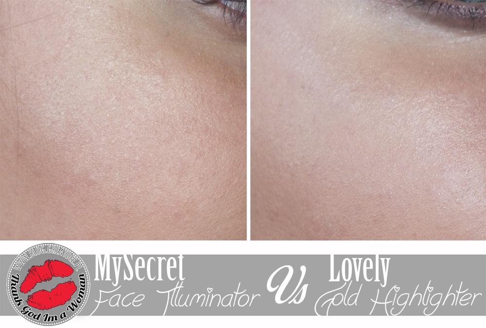 Versus: MySecret Face Illuminator Powder VS Lovely Gold Highliter