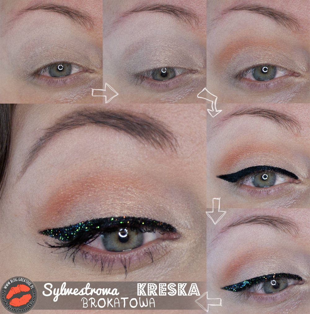 Make-up: Sylwestrowa kreska brokatowa