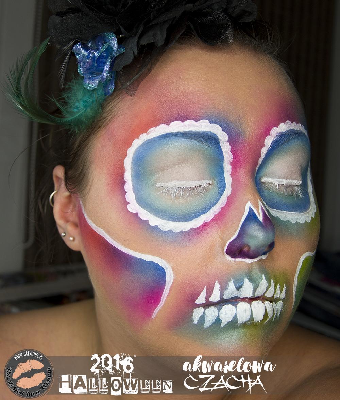 Halloween 2016 | Akwarelowa kolorowa czaszka | Sugarskull