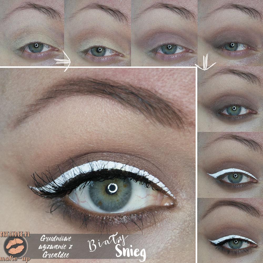 makijaż świąteczny z białym kolorem tutorial krok po kroku