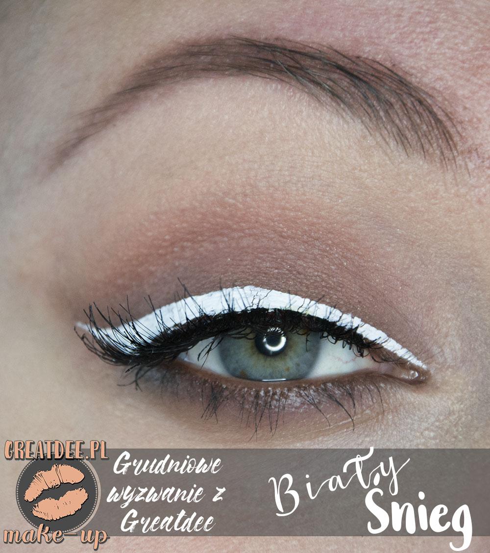 makijaż świąteczny z białym kolorem biały eyeliner
