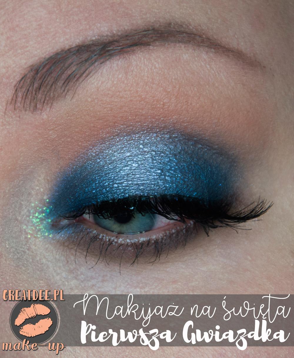 niebieski makijaż na święta