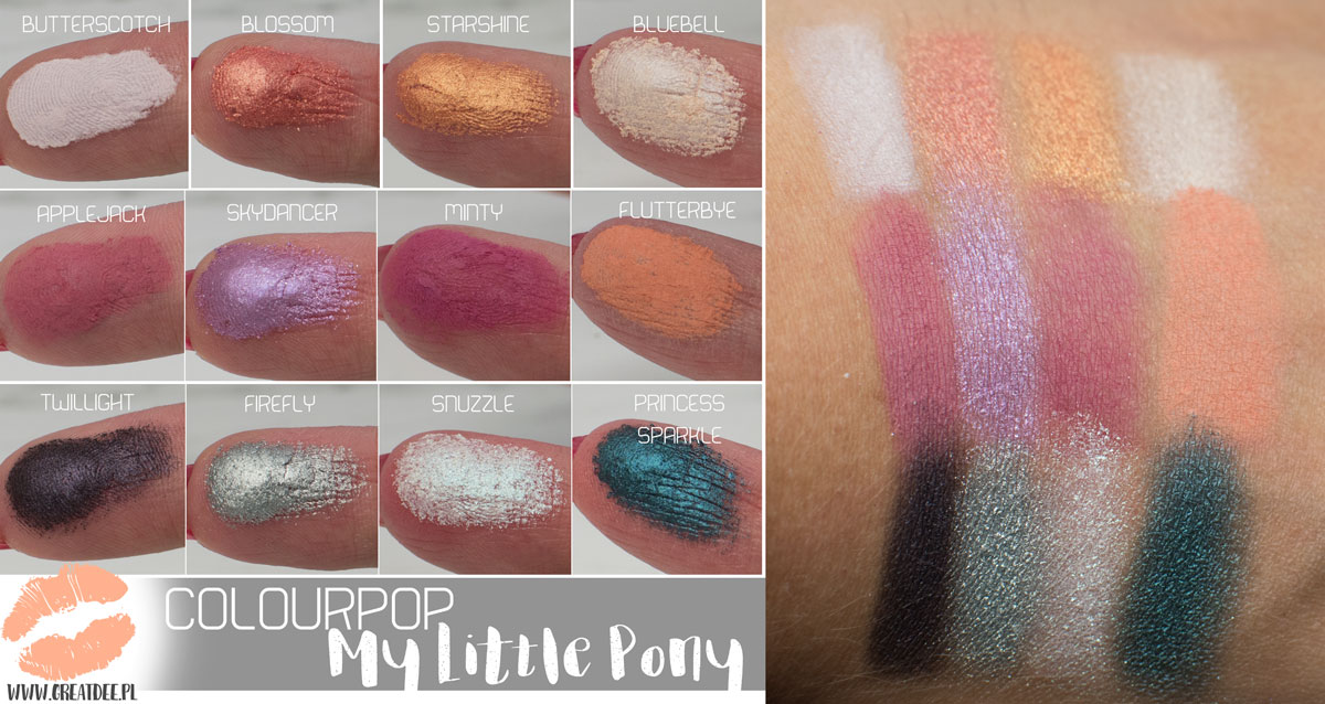 Colourpop My Little Pony paleta cieni swatch